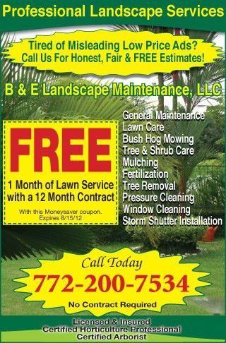 Coupons for B & E Landscape Maintenance, LLC | My Living Magazines