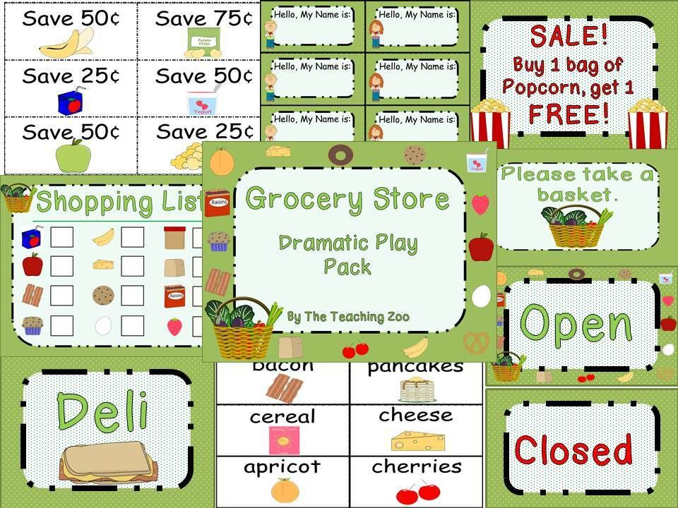 FREE Grocery Store Pretend Play Printables from Homeschool Share ...