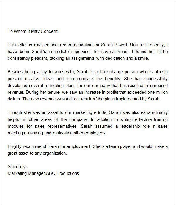 Sample Job Recommendation Letter. Brilliant Ideas Of Sample ...