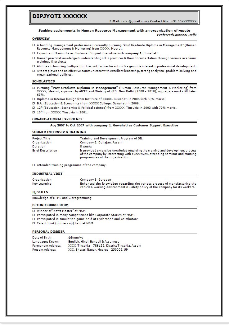 Resume samples for freshers in mba