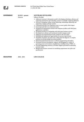 Software Developer Resume Sample   Velvet Jobs