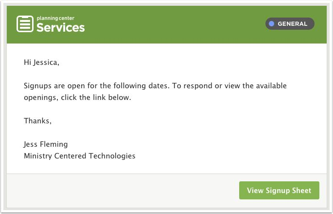 Signup Sheets – Planning Center Services