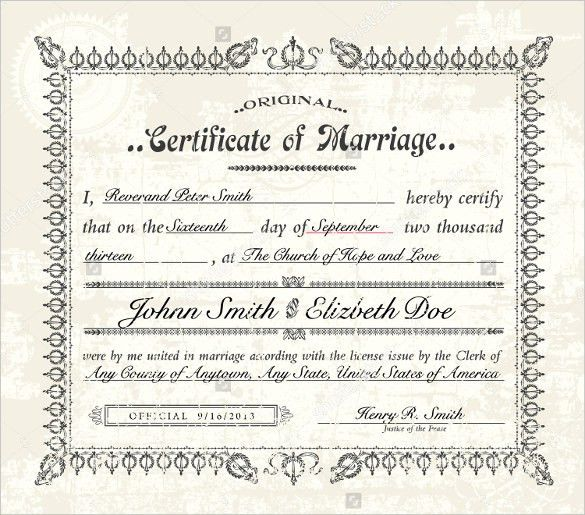 Wedding Certificate Template - 22+ Free PSD, AI, Vector, PDF ...