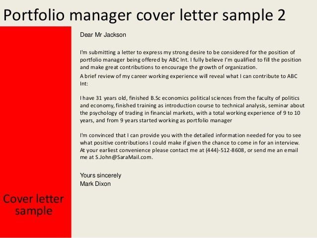 portfolio cover letter examples