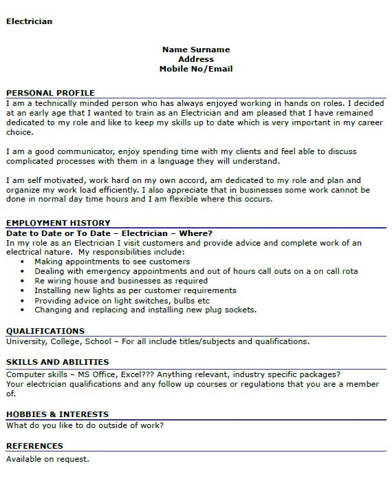 sample resume for electrician unforgettable journeymen