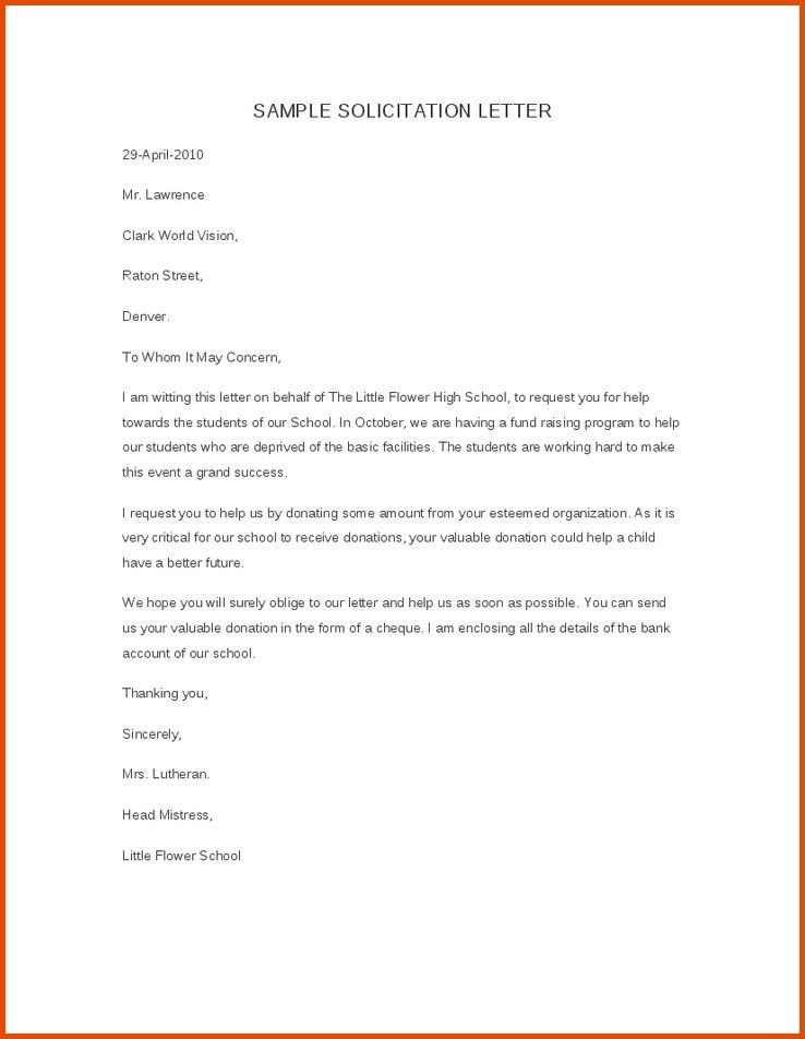 Sample Solicitation Letter For Donations For De4th Word Download ...