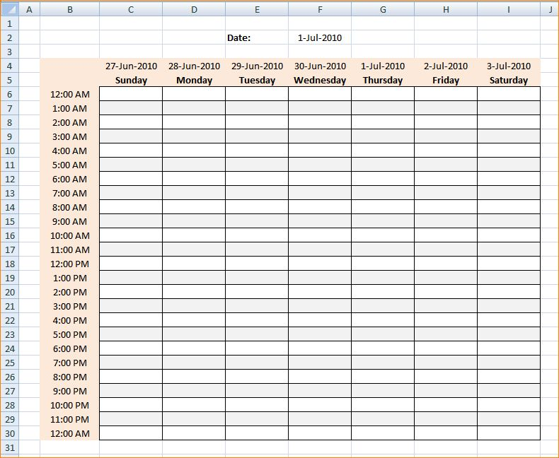 4+ excel schedule template | Outline Templates