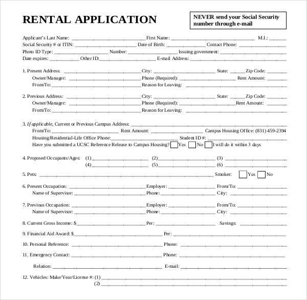Rental Application Template – 12+ Free Word, PDF Documents ...