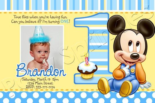 Mickey Mouse 1st Birthday Invitations - iidaemilia.Com