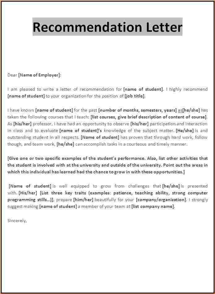 3+ letter of recommendation template word | Outline Templates