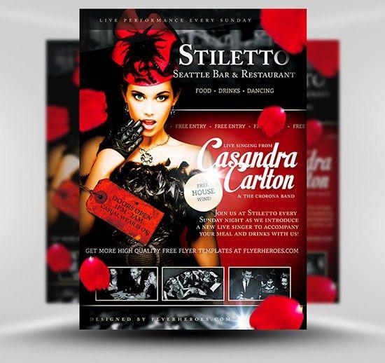Stiletto Free Restaurant & Singer Flyer Template PSD