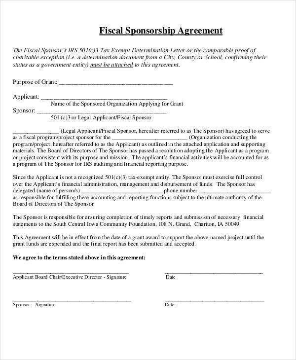 10 Sponsorship Agreement - Free Sample, Example, Format Download