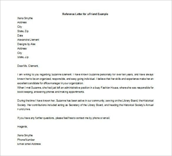 Sample Personal Reference Letter For A Friend Recommendation ...
