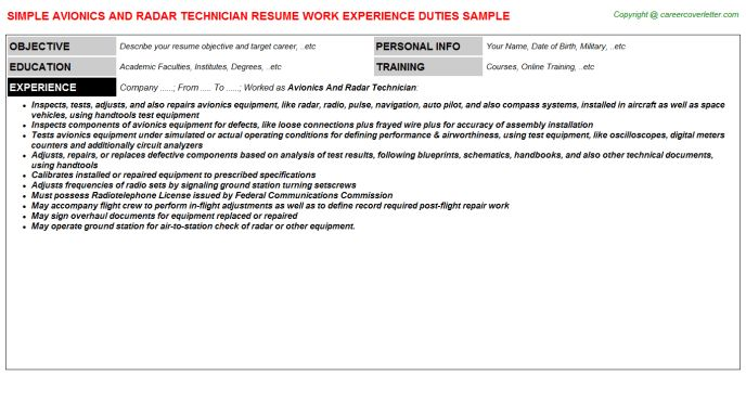 Avionics And Radar Technician Resume Sample