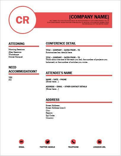 Conference Registration Form Template for WORD | Word & Excel ...