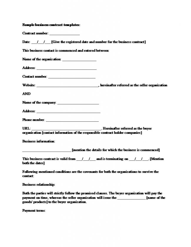 Simple Business Contract Template Example with Blank Filled Text ...