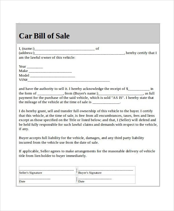 Free Sample Bill of Sales - 8+ Free Sample, Example Format Download