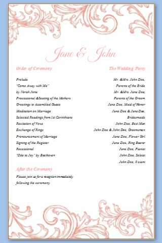 One Page Template – Wedding Programs Templates