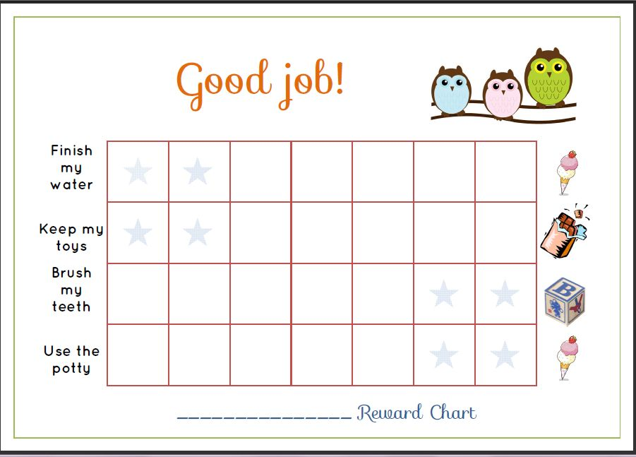 Free Printable Toddler Reward Chart Template Sample : Helloalive