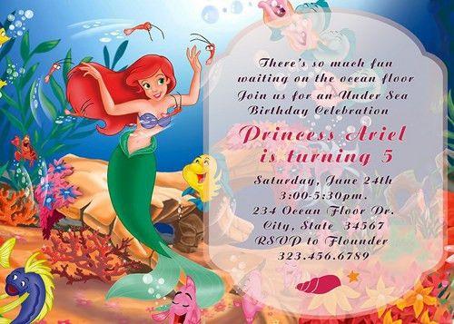 Birthday Invites: Cute Design Little Mermaid Birthday Invitations ...