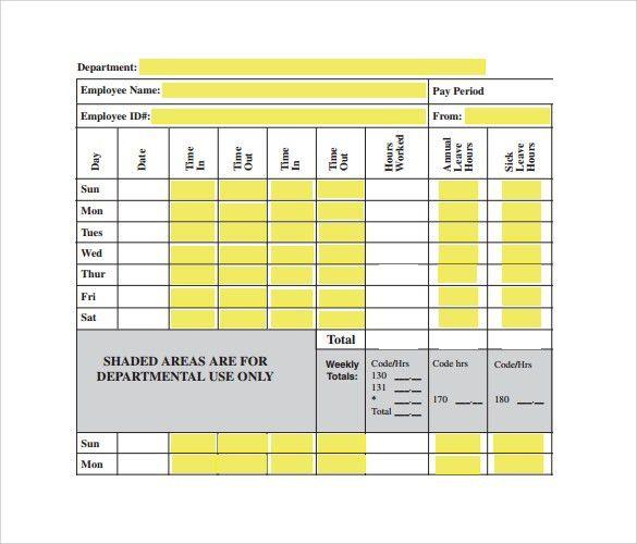 Biweekly Timesheet Template - 7+ Free Samples , Examples , Format