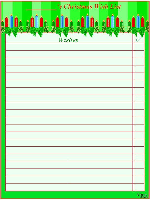 Printable Christmas Wish Lists – Happy Holidays!