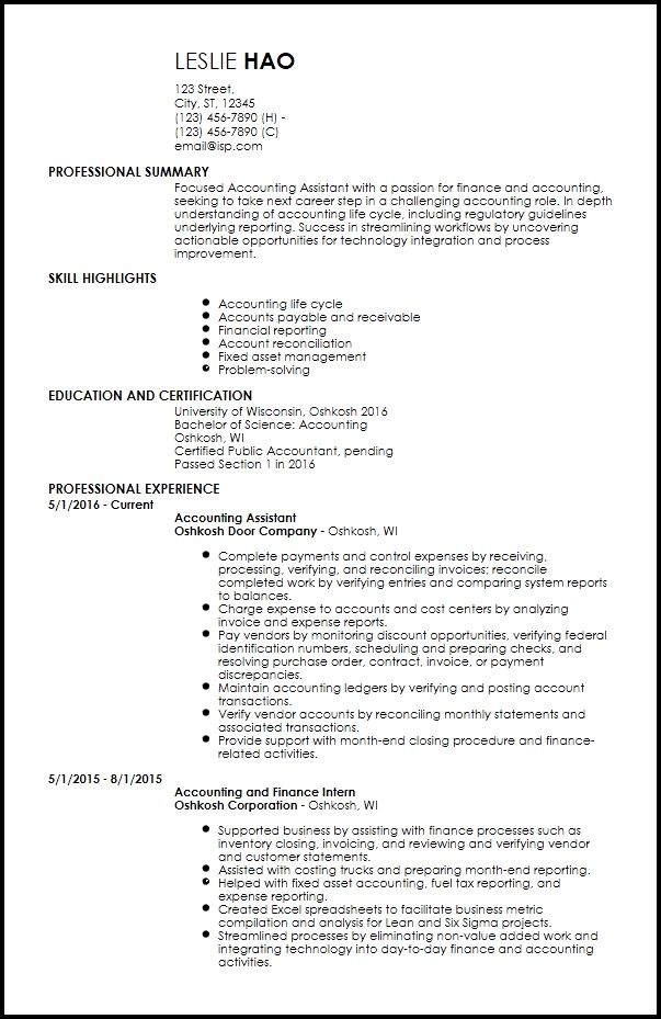 Free Entry-Level Accounting & Finance Resume Templates | ResumeNow