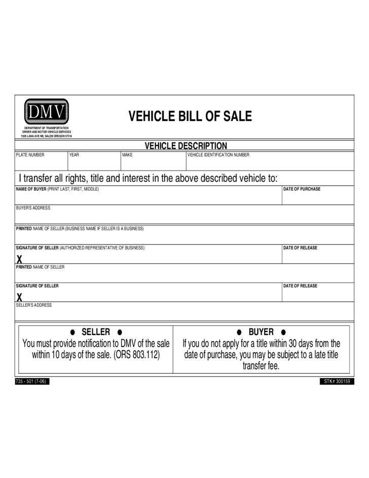 Vehicle Bill of Sale - Oregon Free Download