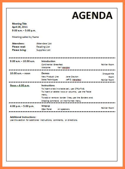4+ sample agenda for meeting | Invoice Example 2017