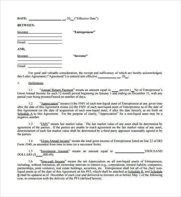 Business Investor Agreement Template | Create professional resumes ...