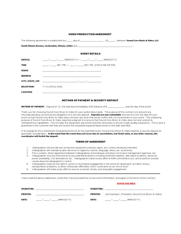 Video Production Agreement Form Free Download