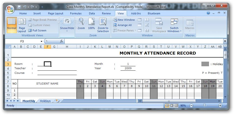 Class Monthly Attendance Report Download