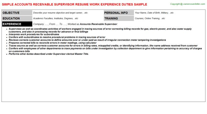 accounts receivable sample resume unforgettable accounts