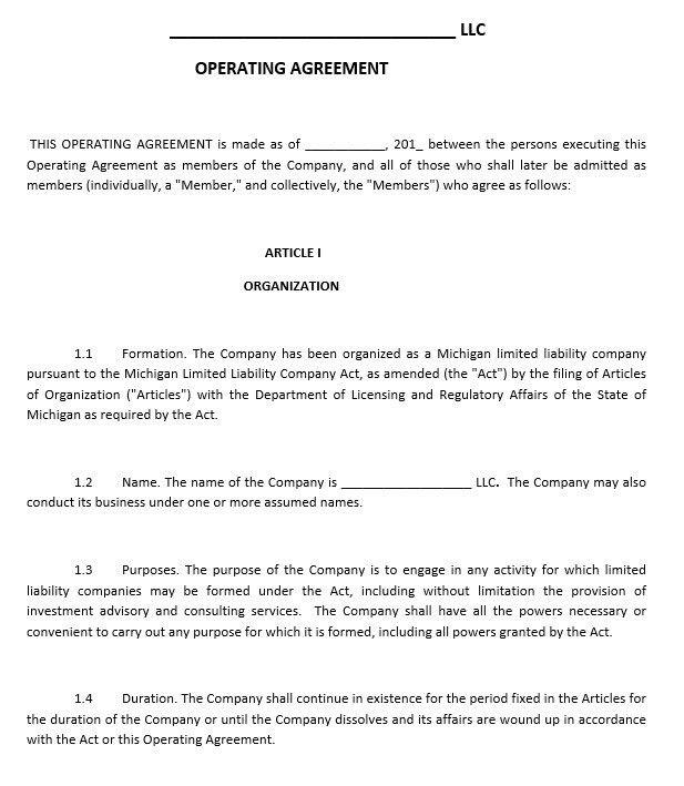 10 Free Sample LLC Agreement Templates – Printable Samples