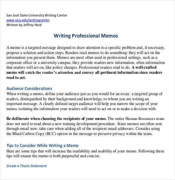 3+ professional memo format | a cover letters