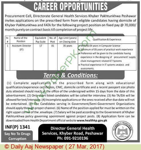 Assistant Director Jobs in Directorate General Health KPK ...