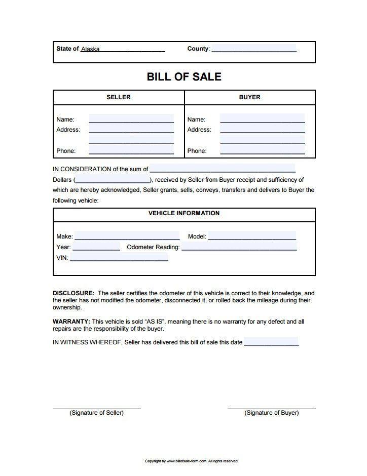 Alaska Bill of Sale