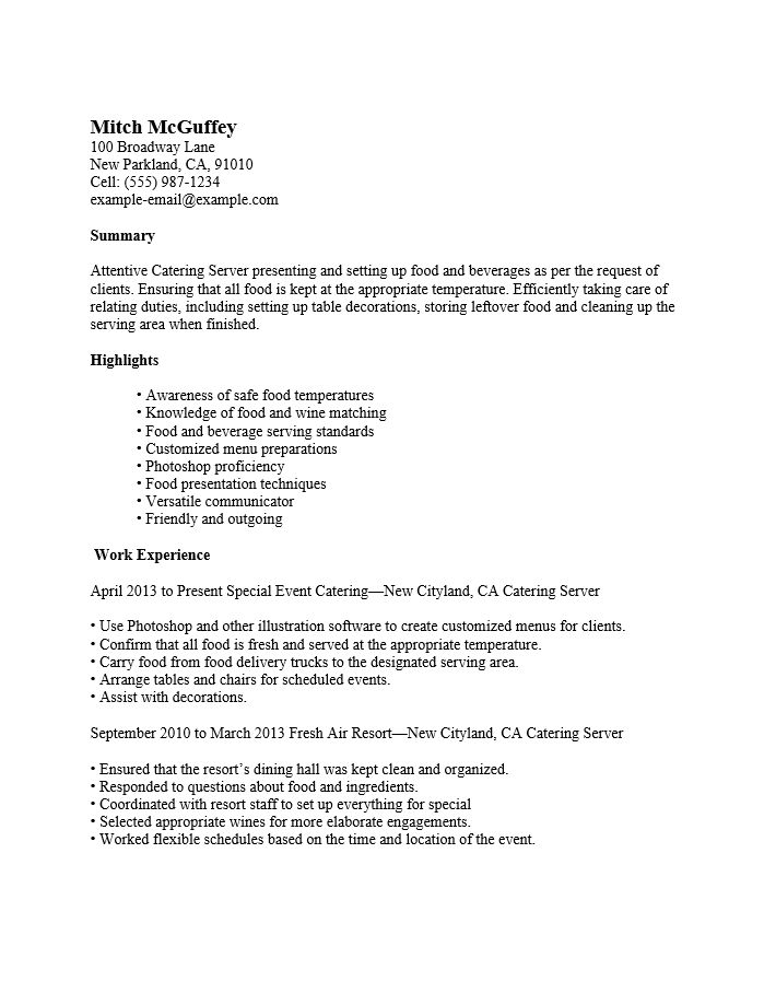 Free Server (Waiter/Waitress) Resume Template | Examples | MS Word