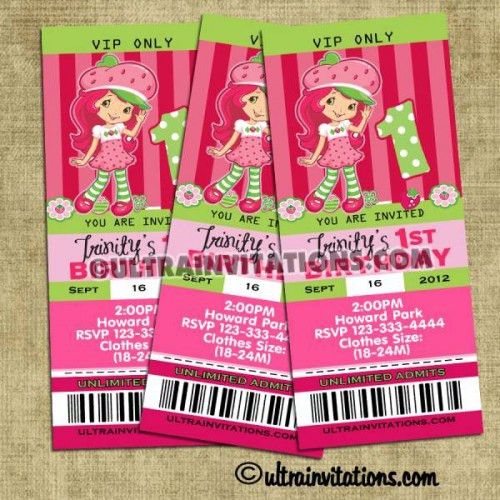 Strawberry Shortcake Ticket Party Invites, Vip Pass Invitations