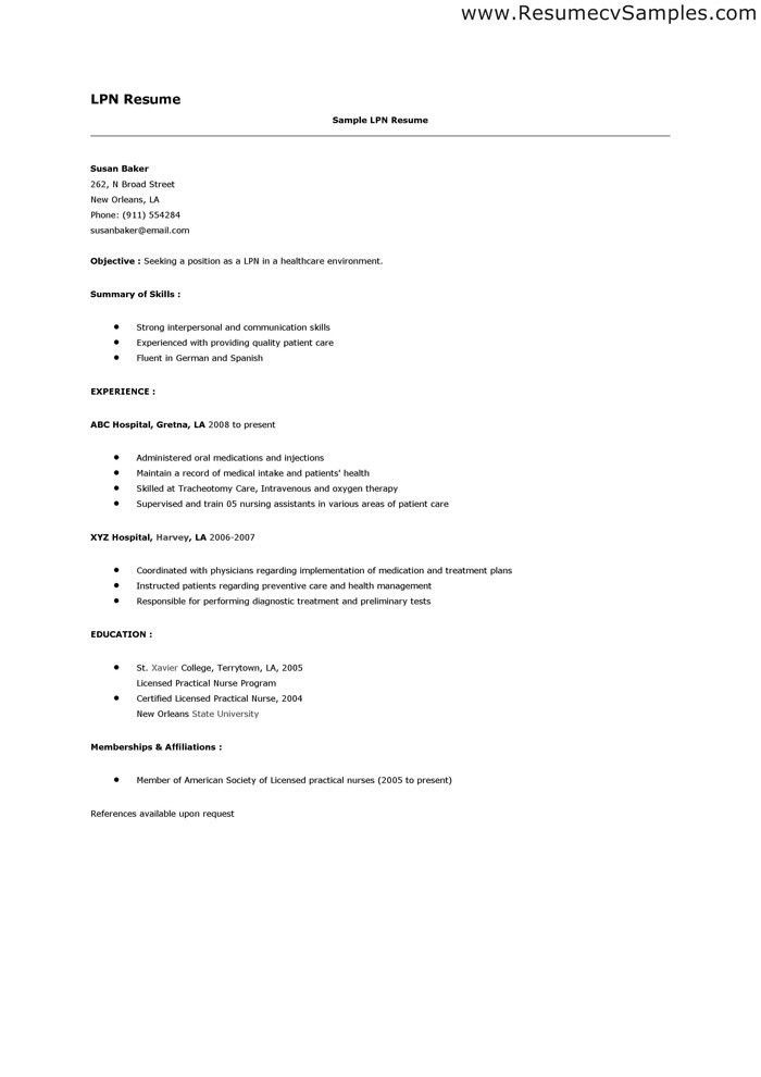 Lpn Resume Example. Lpn Resume 9 Best Lpn Resume Images On ...