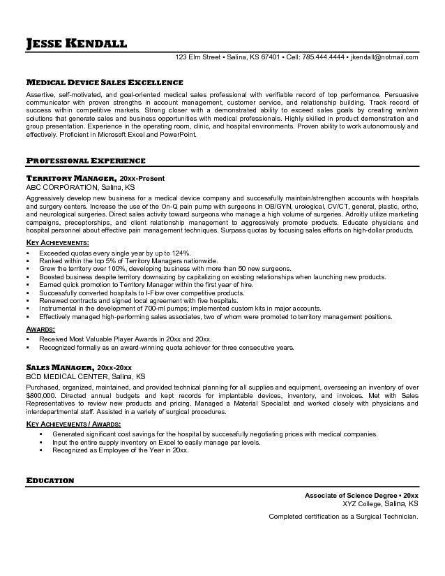 sample healthcare sales resume sample resumes medical device