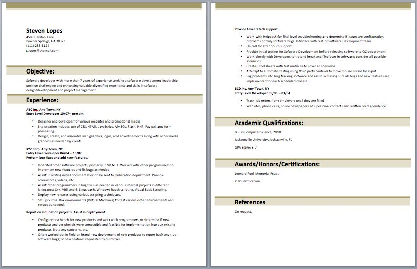 software developer resume includes the skills abilities and it ...