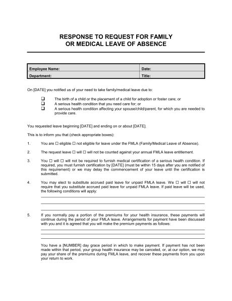 Response to Employee Request for Family or Medical Leave ...