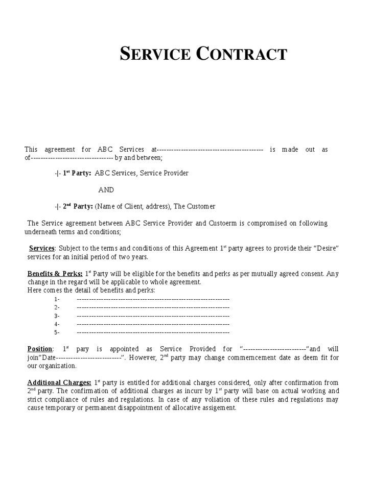 Service Contract Template | peerpex