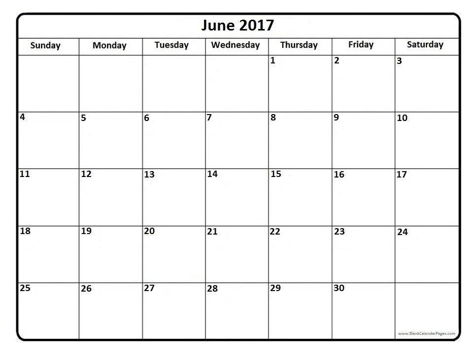 June 2017 Calendar Printable Template Holidays PDF - SocialEBuzz