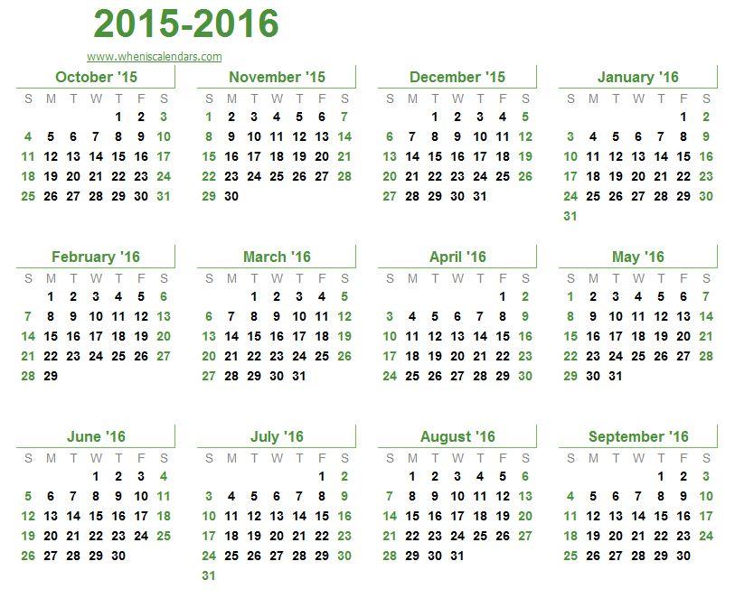 October 2015-September 2016 Calendar Templates