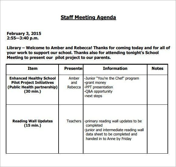 Staff Meeting Agenda Sample. Example Bank Staff Meeting Agenda ...