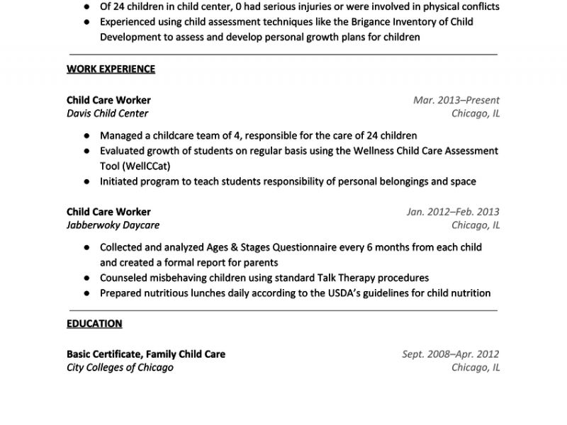 Luxurious And Splendid Child Care Resume Sample 5 Daycare Sample ...