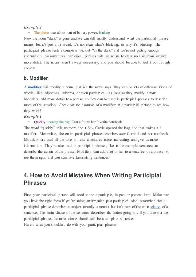 What is a participial phrase