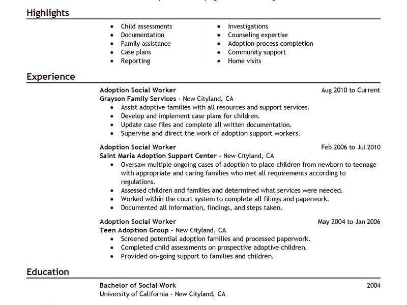 Creative Ideas Social Work Resume Examples 8 Best Adoptions Social ...